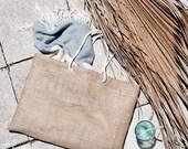 Large Jute Burlap Beach Bag Oversized Tote