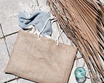 Large Jute Burlap Beach Bag Oversized Tote