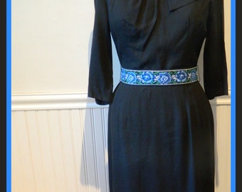 Free Shipping, Vintage 1960's Wiggle Dress, Black, Medium