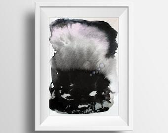 Original abstract watercolor painting by Jules Tillman Scandinavian inspired home decor scandi style black white subtle pink rose quartz