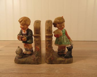 Napco (Japan) ceramic children with dog, cat and rabbit bookends- vintage- nice condition