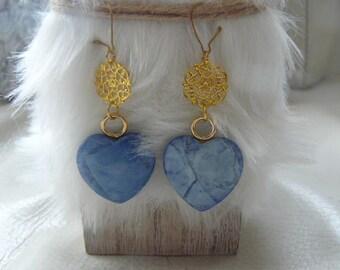 """Earrings """"blue heart"""" agate"""
