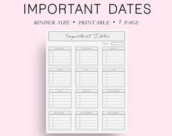 Binder Size Important Dates Planner, Yearly Planner, Yearly Calendar, Monthly Planner, Binder Planner, Binder Inserts, Filofax Binder,