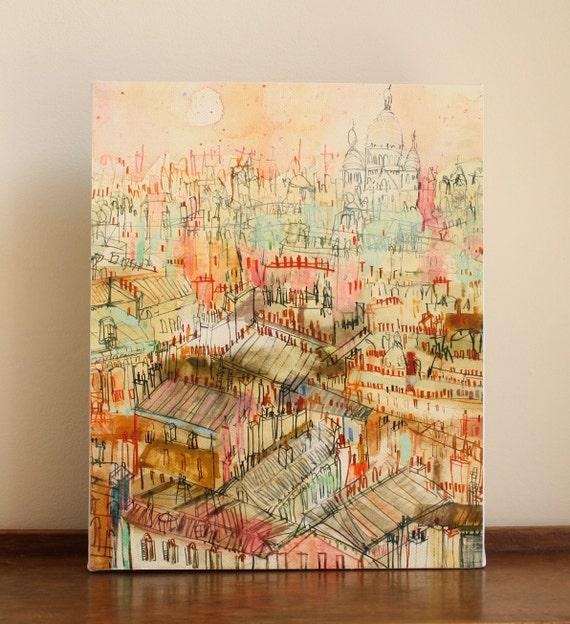 PARIS ROOFTOP ART Sacre Coeur Canvas Print Mixed Media