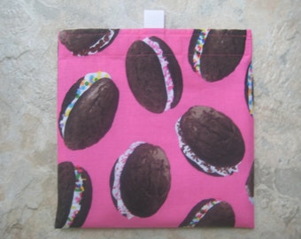 Whoopie Pies Reusable Sandwich Bag, Reusable Snack Bag, Eco Friendly Snack Bag, Washable Treat Bag with easy open tabs