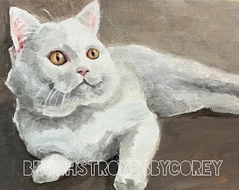Fluffy White Cat Art Original Acrylic Painting on Canvas Board
