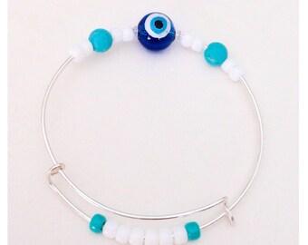 Evil Eye Bangle, Greek eye bracelet, Turkish eye jewelry, Evil Eye charm, Mykonos bracelet, Resort bracelet, Cruise wear, Island jewelry