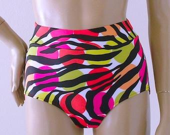 High Waisted Swimsuit Bikini Bottom in Miro Multicolored Zebra Print in S-M-L-XL