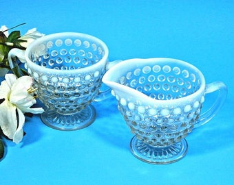Anchor Hocking Moonstone Opalescent Hobnail Glass Creamer and Sugar