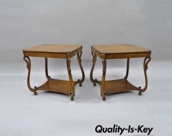 Pair Vintage Regency Neoclassical Style End Side Tables 2 Drawers Swan Carved