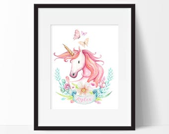 Unicorn Room Decor - Personalized Unicorn Print - Watercolor Unicorn Print - Unicorn Wall Art - Unicorn Wall Decor - Unicorn Nursery Art