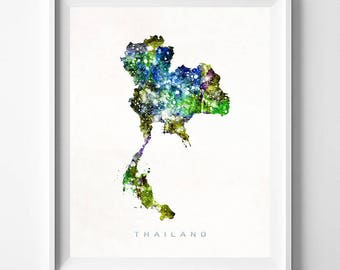 Thailand Map Print, Bangkok Print, Thailand Poster, Asia Map, Watercolor Painting, Wall Decor, Travel, Home Decor, Fathers Day Gift