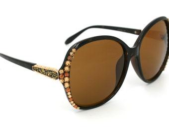 Bling Custom Black Sunglasses w/ Swarovski Crystals