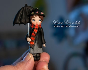Mary Poppins: Ooak doll - necklace - Polymer clay dolls -  Miniature art doll - brooch, polymer clay doll, mary poppins