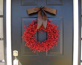 Fall Berry Wreath- Fall Decor- Fall Wreath- Red Berry WEATHERPROOF Berry Wreath for Fall