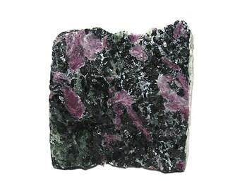 Red Ruby in Black Tschermakite Rock Matrix with Sparkly green zoisite Semiprecious Gem Stone, Tanzania Mineral Specimen, Lapidary Rough