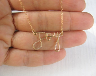 Joy necklace, gold wire word necklace, gold necklace, wire work jewelry, word necklace, silver necklace, 14k gold filled