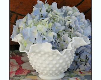 Vintage Fenton Milk Glass Vase - Wedding Centerpiece
