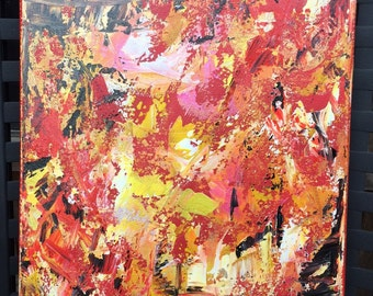 Fire Inside - Signed Original Painting on Canvas by New Orleans Artist - Red, Yellow, Black, White, Pink Metallic - Made in the USA