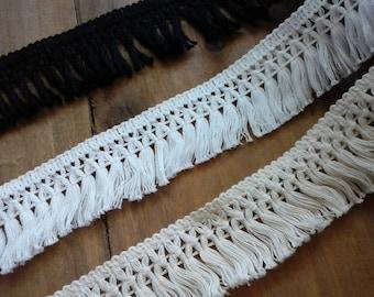 """1.5"""" Soft Cotton Fringe,  Black white ivory,  Cotton  Tassel Fringe, cotton tassel fringe"""