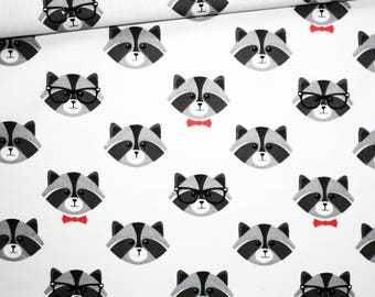 Raccoon, 100% cotton fabric printed 50 x 160 cm heads gray raccoon, pink butterfly on white background