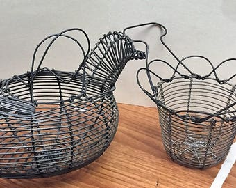 Primitive Wire Egg Baskets - 2 - Hen or Duck Shape