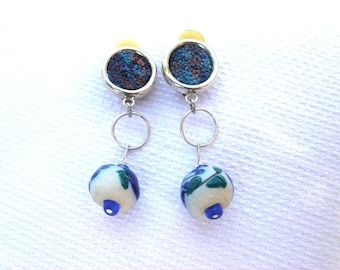 Encrusted blues: unusual upcycled repurposed vintage silverplated clip on earrings  hand embroidery panels + hand made ceramic bead drops
