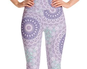 Women's Printed Leggings, Unique Mandala Leggings, Purple Leggings High Waist Yoga Pants