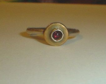 Silver ring stacking vintage hand made garnet possibly sterling