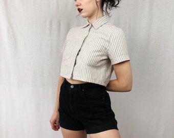 Striped Denim Crop Blouse
