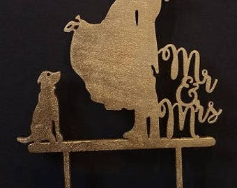 Mr and mrs wedding cake topper with dog, glitter cake topper, wood cake topper,  cake topper, various colors, cake decoration, wedding