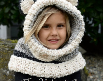 Knitting PATTERN-The Wren Wolf Cowl (12/18m, Toddler,Child, Adult sizes)