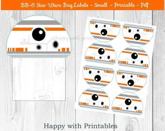 BB-8 Star Wars Bag label - BB8 treat bag label - SMALL - Star Wars bag label - Star Wars party - Star Wars The Last Jedi goodie label