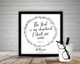 Personalised 'The Lord is my Shepherd I shall not want' print with frame,Psalm 23,Gift,Birthday,olive leaves,wall art,home decor