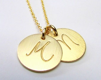 Gold Initial Necklace | Two Charm Necklace | Gold Filled (14K GF) Pendant Chain Necklace | LYLA by E. Ria Designs