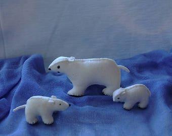 Waldorf polar bears - handmade - home decoration - waldorf gift- wool felt - eco friendly - winter nature table