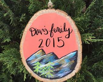 RESERVED-Personalized Mountain Wood Slice Ornament - Coral, Mountain Landscape Wood Ornament Painting, Christmas Tree Ornament