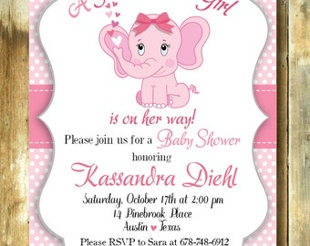 Baby shower invite, invitation kit for babyshower, customizable invitation for babyshower elephant pink theme