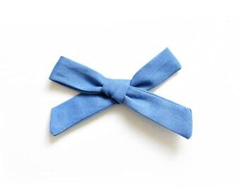 Denim Blue Bow -  Hand Tied Bow - Baby Headband - School Girl Bow