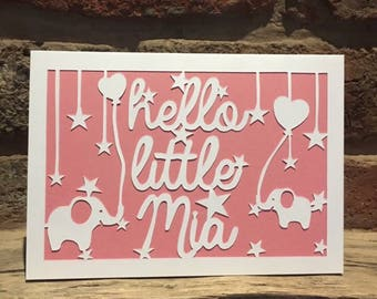 Papercut New Baby Personalised Card