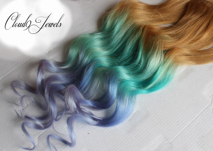 Pastel Clip In Hair Extensions Ombre Hair Mint Purple Tie