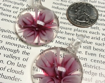 Glass Pink Flower Pendant - 2 Pieces - #892