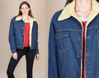 70s Shearling Denim Jacket - Medium // Vintage Roebucks Jean Jacket Winter Coat
