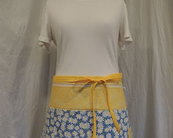 Sunny yellow and daisy vendor apron with tons of pockets