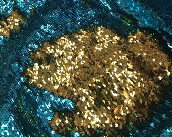 Mermaid Reversible Sequin ShinyTurquoise/shiny Gold On Spandex Sold By Yard