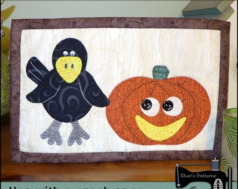 PDF Pattern for Halloween Mug Rug, Crow & Pumpkin Mug Rug Pattern, Crow Mini Quilt Pattern - Sewing Pattern, Tutorial, DIY