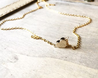 16k Gold heart initial necklace