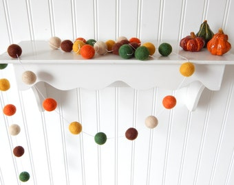 Autumn Garland, Fall Garland, Fall Decoration, Thanksgiving Garland, Felt Ball Garland, Halloween Decor Autumn Decor, Pumpkin,