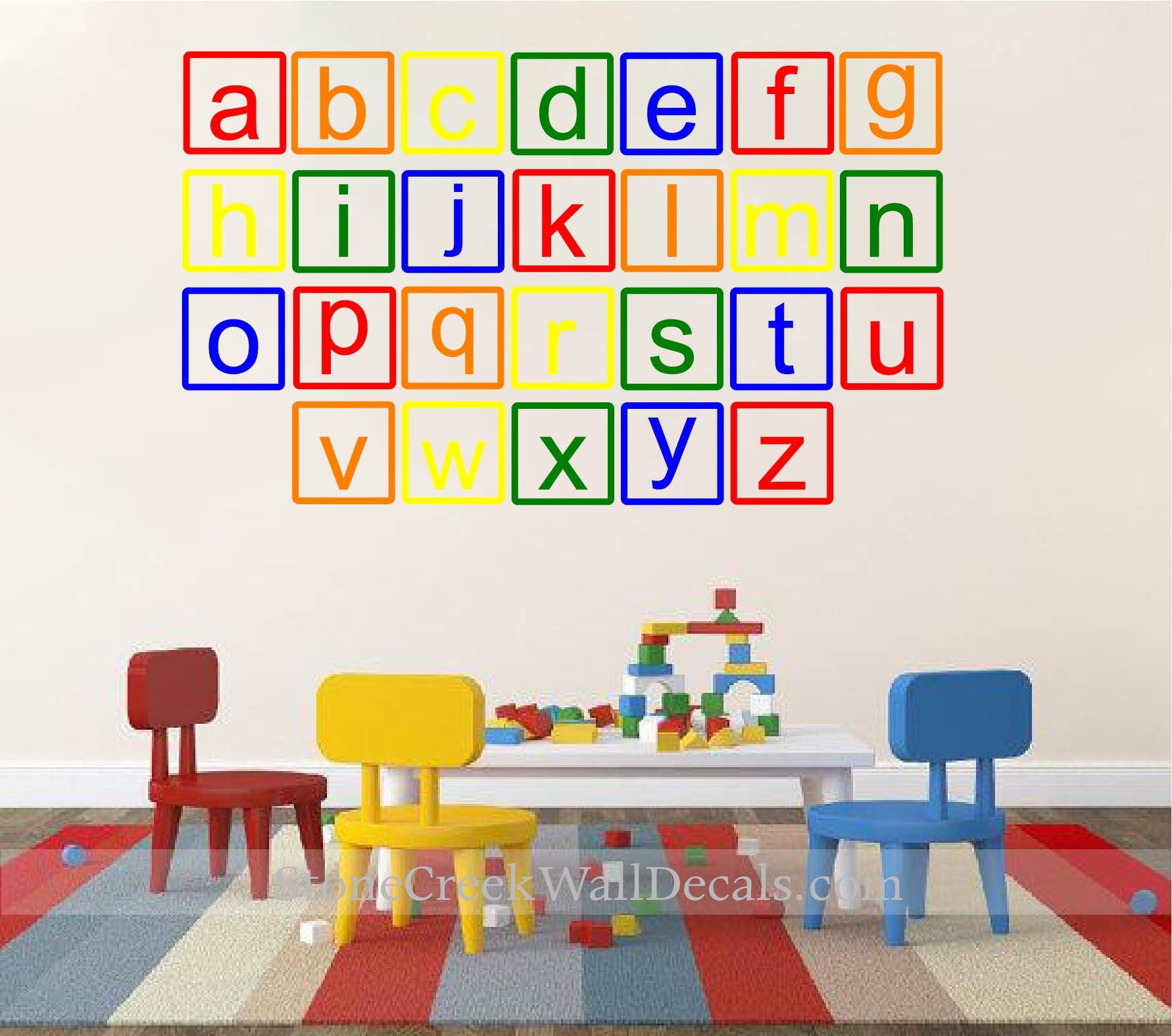Great Alphabet Wall Decal Lowercase ABC Playroom Wall Decal ABC Wall Decal Vinyl  Lettering Alphabet Letters Toddler Kids Playroom Wall Decal