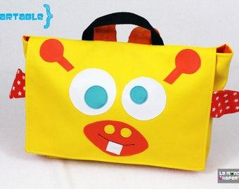 Cartable sac à dos maternelle girafe jaune et rose simili cuir